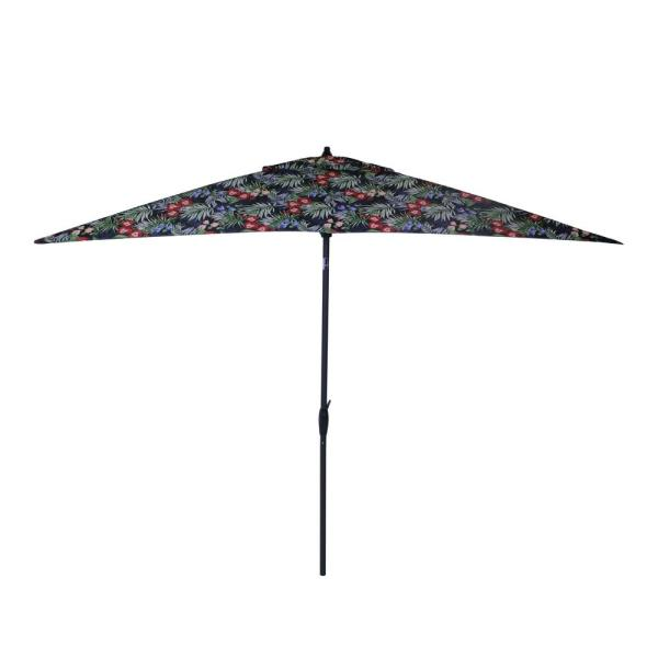10 ft. x 6 ft. Aluminum Market Patio Umbrella in Caprice Tropical with Push-Button Tilt