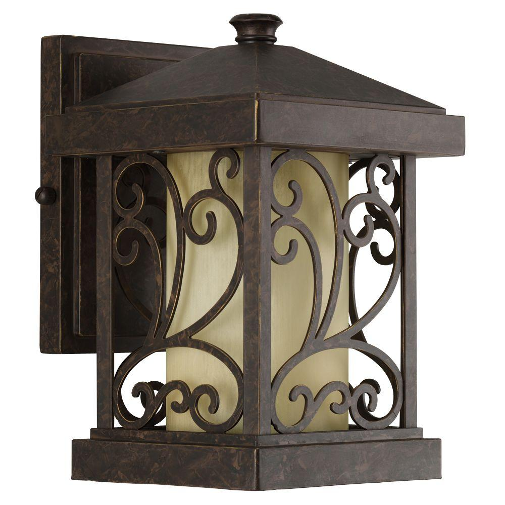 Progress Lighting Cypress Collection 1 Light 10 In Outdoor Forged Bronze Wall Lantern Sconce