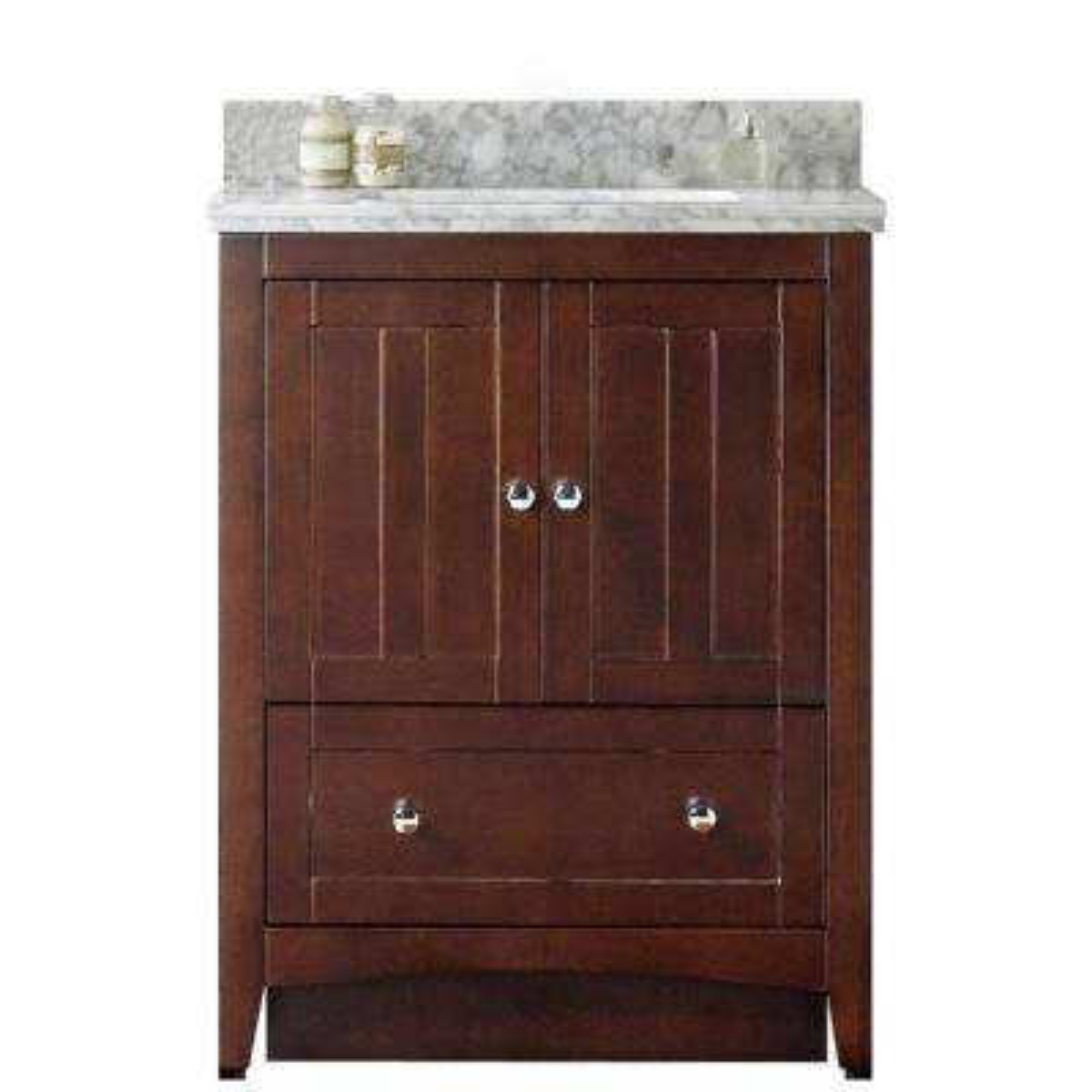 16-Gauge-Sinks 30.5 in. W x 18.75 in. D Bath Vanity in Walnut with Stone Vanity Top in Bianca Carara with Biscuit Basin