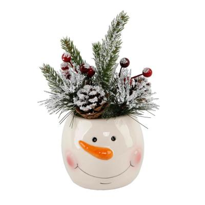 6 in. H Christmas Arrangement in Ceramic Snowman Pot with Pinecones and Berries