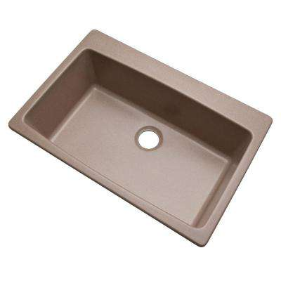 Rockland Dual Mount Composite Granite 33 in. 0-Hole Single Bowl Kitchen Sink in Desert Sand