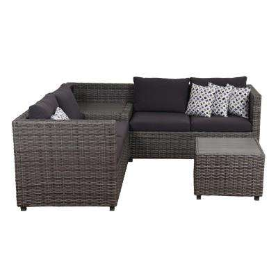 Mustang 3-Piece Synthetic Wicker Sectional Patio Set with Grey Cushions