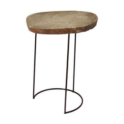 Tall Natural Stone Slab & Black Wire Frame Side Table