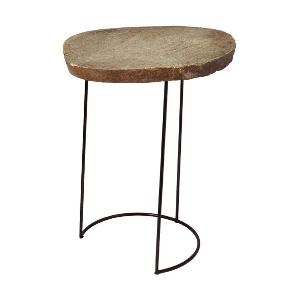 An Lighting Tall Natural Stone Slab Black Wire Frame Side Table