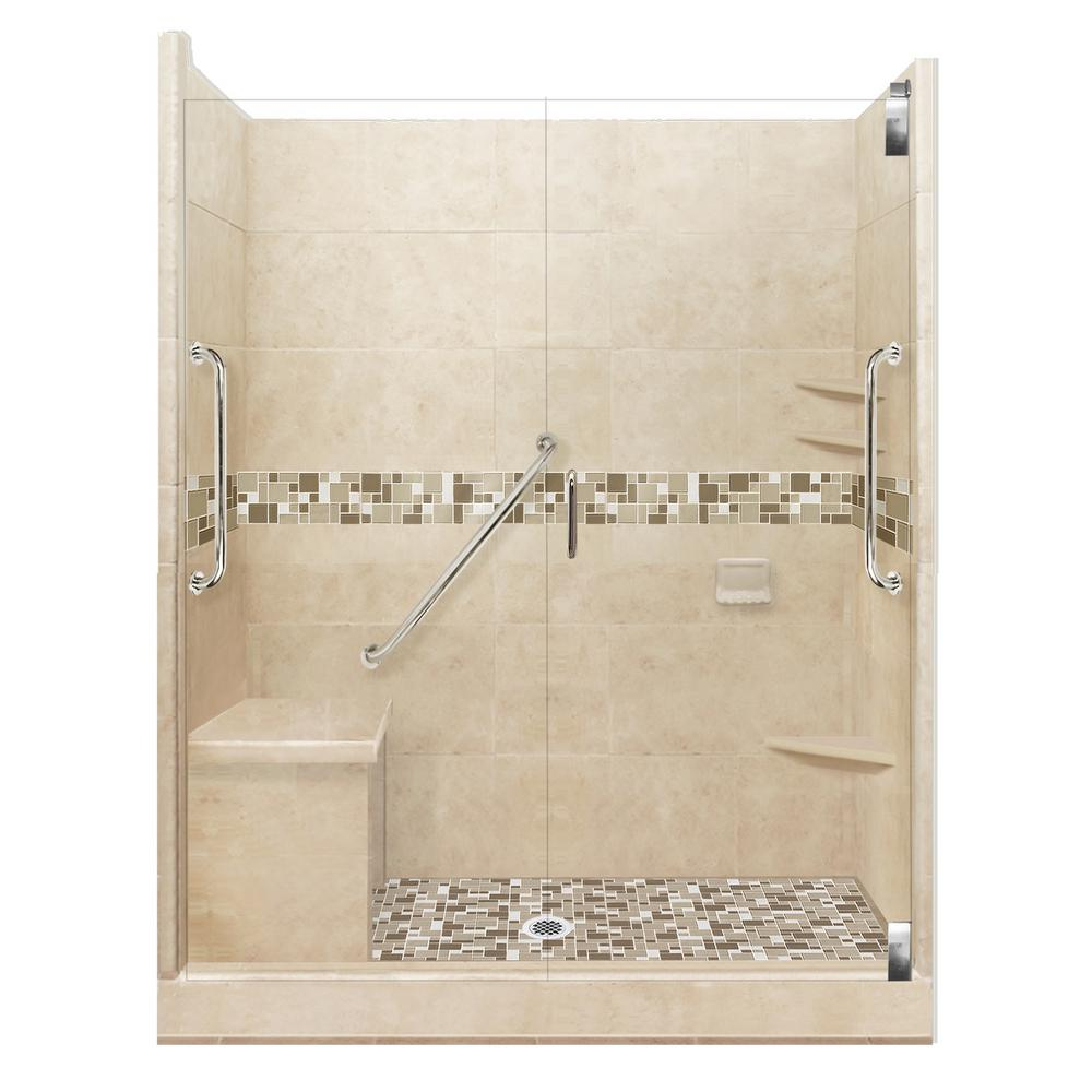American Bath Factory Tuscany Freedom Grand Hinged 42 in. x 60 in. x 80 in. Center Drain Alcove Shower Kit in Brown Sugar and Chrome Hardware