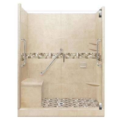 Tuscany Freedom Grand Hinged 30 in. x 60 in. x 80 in. Center Drain Alcove Shower Kit in Brown Sugar and Satin Nickel