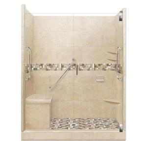 American Bath Factory Tuscany Freedom Grand Hinged 34 In X 60 In X 80 In Center Drain Alcove Shower Kit In Brown Sugar And Satin Nickel Afgh 6034bt Cd Sn The Home Depot