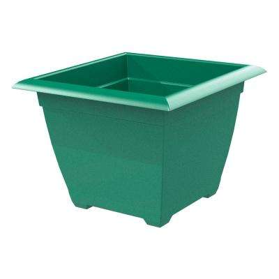 Dayton 15 in. Square Jungle Green Plastic Planter