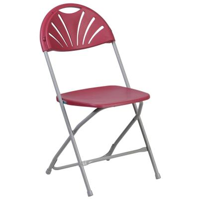 Burgundy Plastic Seat Outdoor Safe Folding Chair