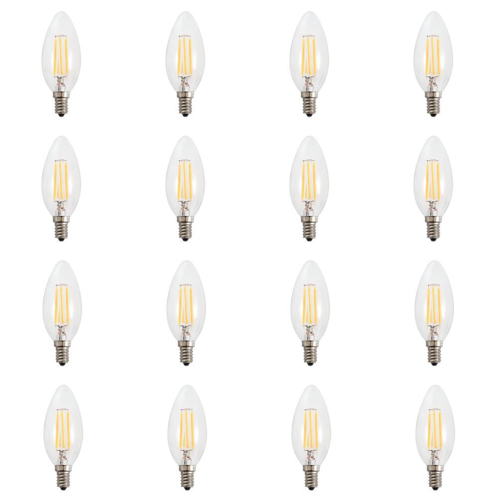 60-Watt Equivalent (2700k) B10 LED Light Bulb Warm White (12-Pack)