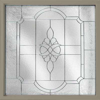 47.5 in. x 47.5 in. Decorative Glass Fixed Vinyl Windows Victorian Glass, Nickel Caming - Driftwood