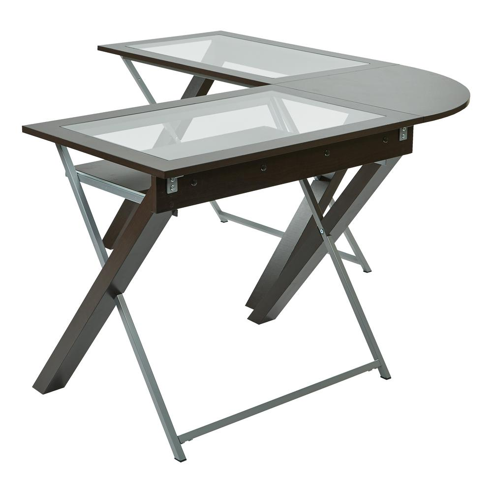 OSPdesigns Espresso and Silver Desk
