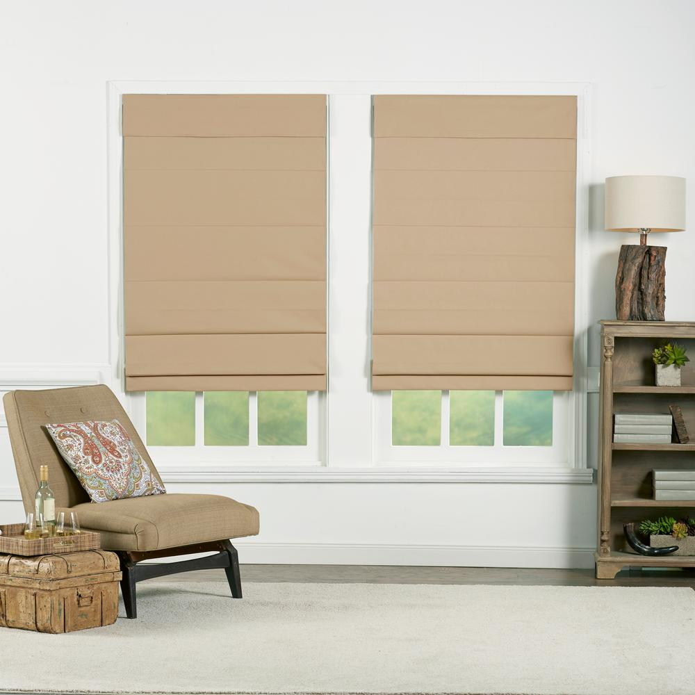 Perfect Lift Window Treatment Khaki Cordless Blackout Energy-Efficient Cotton Roman Shades 32 in. W x 72 in. L