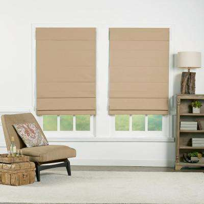 Khaki Insulating Cordless Cotton Roman Shade - 64 in. W x 72 in. L