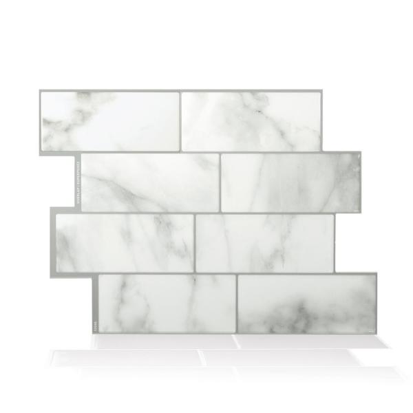 Smart Tiles Metro Carrera Grey 11.56 in. W x 8.38 in. H Peel and Stick Self-Adhesive Decorative Mosaic Wall Tile Backplash