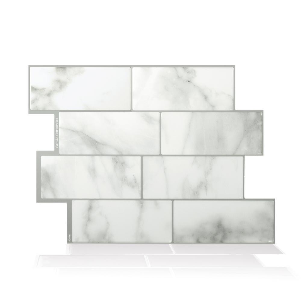 Smart Tiles Metro Carrera Grey 11.56 in. W x 8.38 in. H Peel and ...