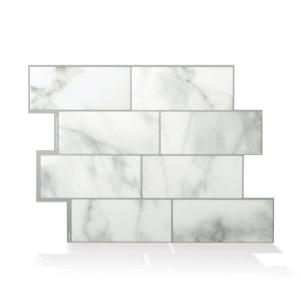 Metro Carrera Grey 11.56 in. W x 8.38 in. H Peel and Stick Self-Adhesive Decorative Mosaic Wall Tile Backplash