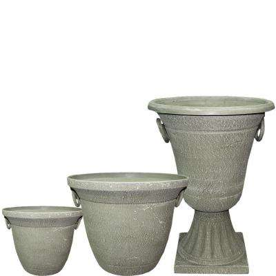 Handled Jar 20 in. x 15 in. Stone Resin Planter Pack (Set of 3)