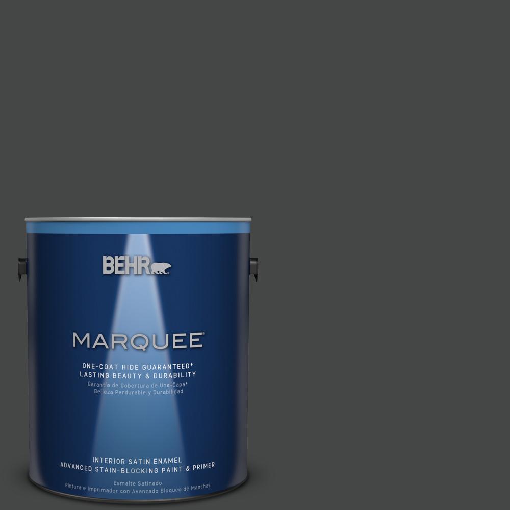 1 gal. #PPU26-23 Black Boudoir Satin Enamel Interior Paint