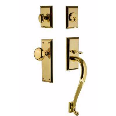 New York Plate 2-3/8 in. Backset Lifetime Brass S Grip Keyed Entry Handleset with New York Knob