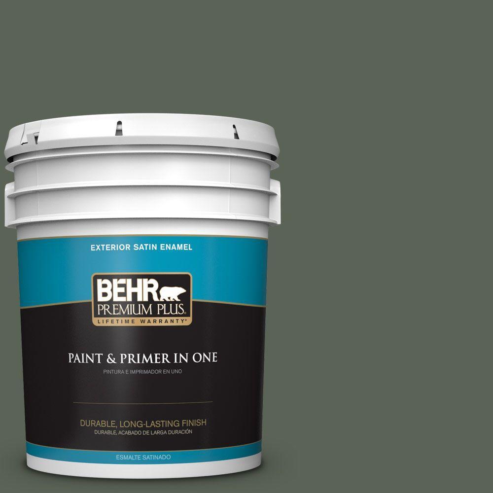 BEHR Premium Plus 5-gal. #T13-16 Pine Cone Pass Satin Enamel Exterior Paint