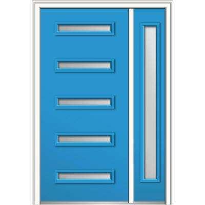 50 in. x 80 in. Davina Frosted Glass Right-Hand 5-Lite Modern Painted Fiberglass Smooth Prehung Front Door with Sidelite