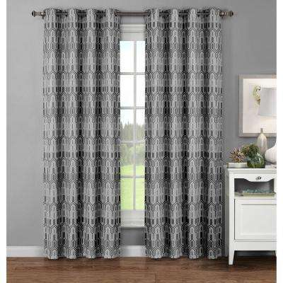 Semi-Opaque Juneau Printed Cotton Extra Wide 96 in. L Grommet Curtain Panel Pair, Charcoal (Set of 2)
