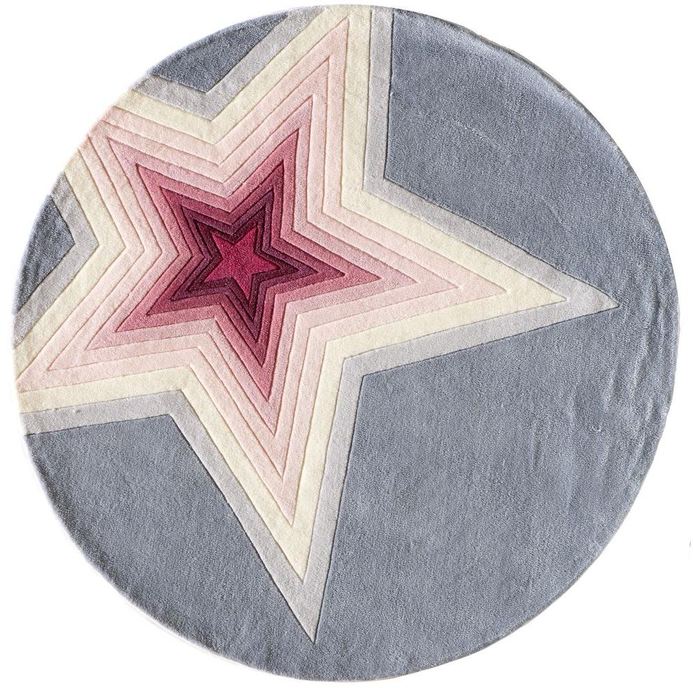 Momeni Young Buck Collection Superstar Gray 5 ft. x 5 ft. Indoor Round Area Rug