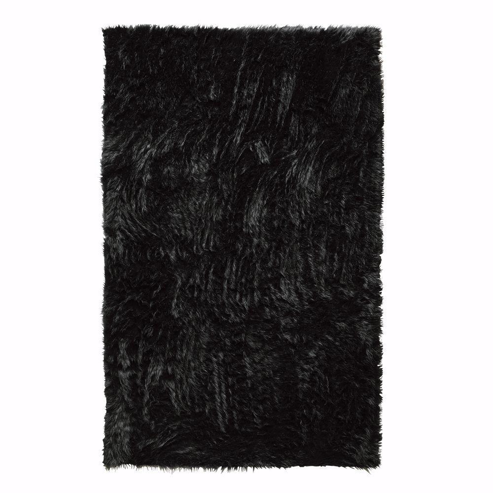 Faux Sheepskin Black 8 ft. x 11 ft. Area Rug