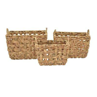 18.5 in. x 14 in. Water Hyacinth Baskets (Set of 3)