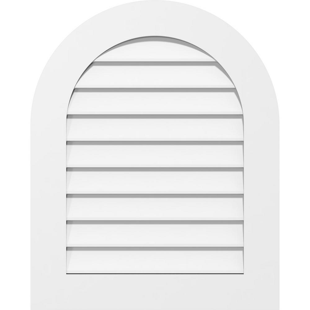 Ekena Millwork 24 In X 30 In Round Top White Pvc Paintable Gable Louver Vent Gvprt24x3001sn The Home Depot
