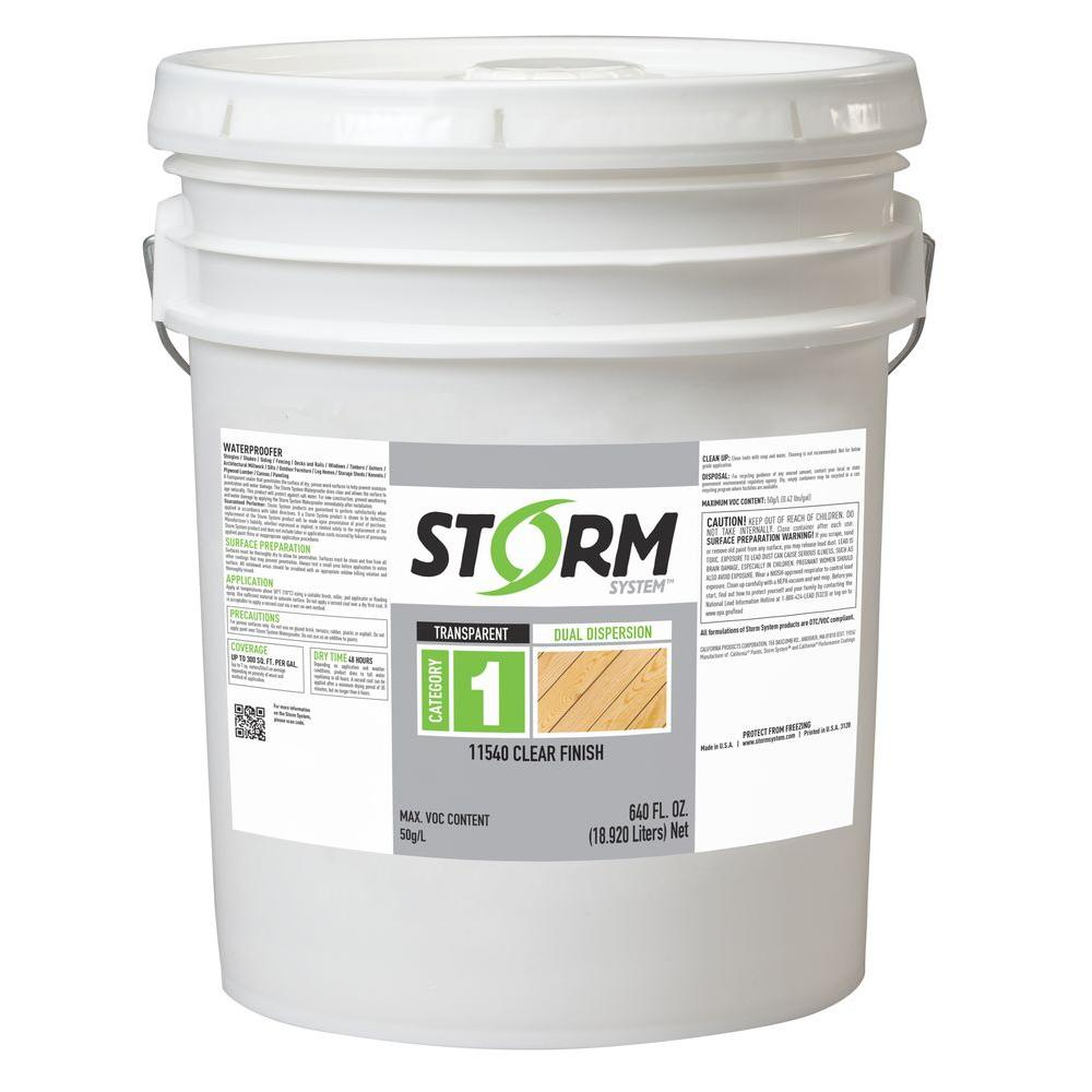 Storm System Category 1 5 gal. Clear Exterior Dual Dispersion Wood Finish
