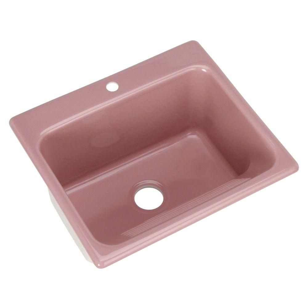 Thermocast Kensington Drop-In Acrylic 25x22x12 in. Single Bowl Utility Sink in Dusty Rose