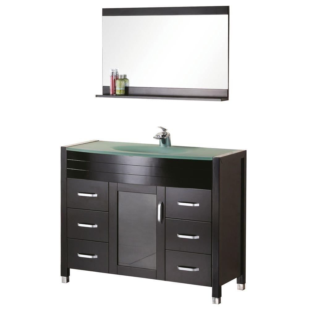 Design Element Cascade 48 in. W x 22 in. D Vanity in Espresso with Glass Vanity Top and Mirror in Aqua
