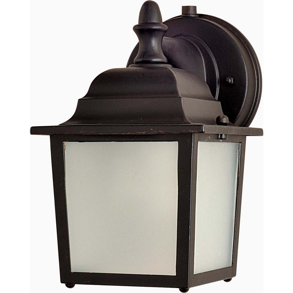Side Door 5.5 in. W 1-Light Empire Bronze Outdoor Wall Lantern Sconce