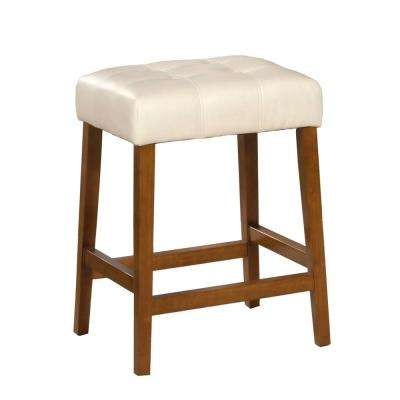 Faux Leather Square 24 in. Cream Bar Stool
