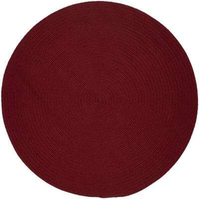 Texturized Solid Colonial Red Poly 4 ft. x 4 ft. Round Braided Area Rug