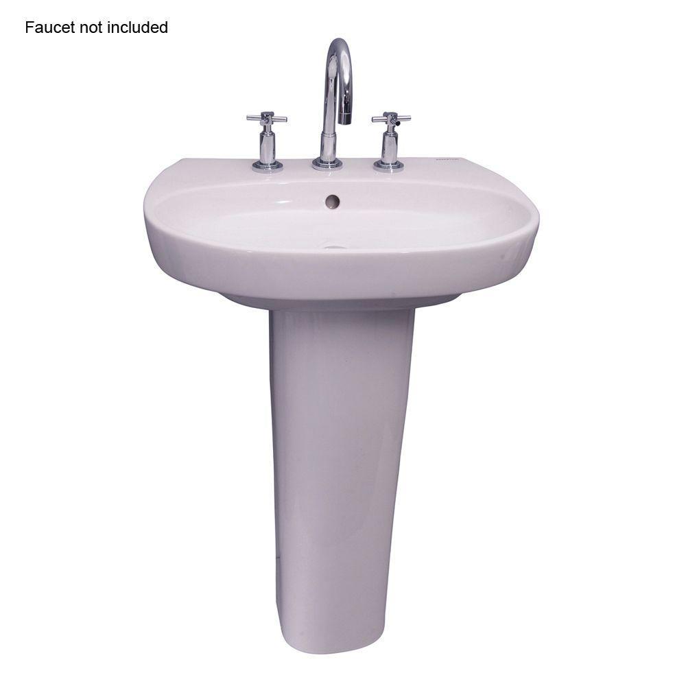 Zen 600 23 in. Pedestal Combo Bathroom Sink for 8 in. Widespread in White