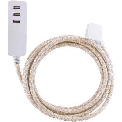 10 ft. 0-Outlet 3-USB Charging Ports 3.4 Amp Decor Extension Cord with Surge Protection, Light Brown/White