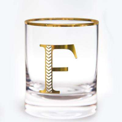 Monogram 11 oz. Gold Rim and Letter Double Old-Fashioned Glasses (Set of 2)