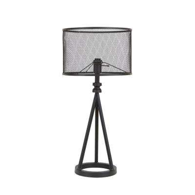 29.25 in. Woodruff Industrial Tripod Black Table Lamp with Metal Mesh Shade