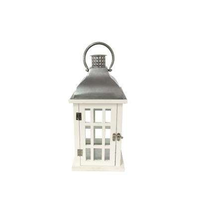 14 in. White Wood and Steel Lantern