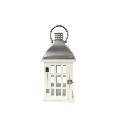 14 in. White Wood and Steel Outdoor Patio Lantern