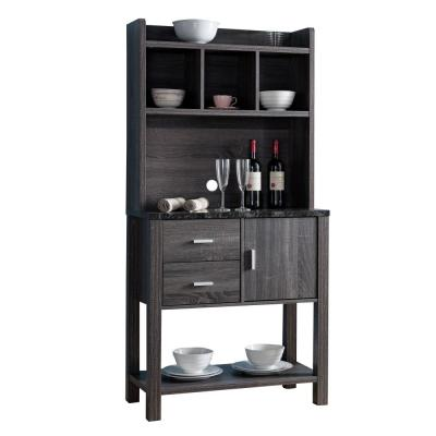 Multi Storage Gray Distressed Wooden Baker's Rack with 2-Utility Drawers