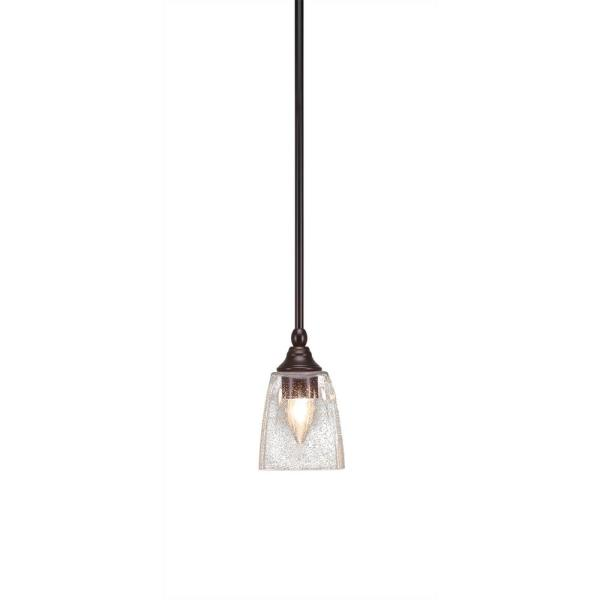 1-Light New Age Brass Mini Pendant with 4.5 in. Clear Bubble Glass