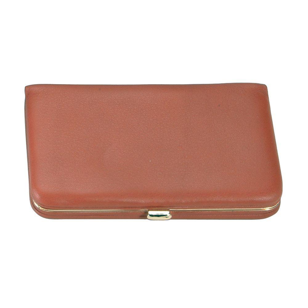 Genuine Leather Framed Business Card Case Wallet, Tan