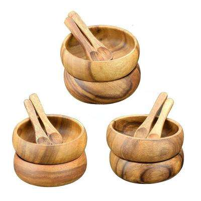 4 in. 12-Piece Wooden Round Dip and Nut Bowl Set with Spoons