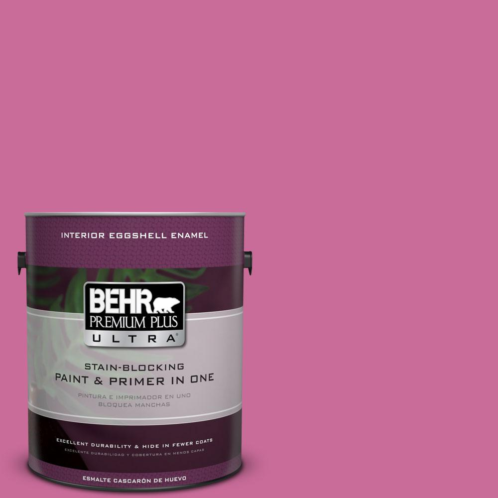 BEHR Premium Plus Ultra 1-gal. #100B-6 Fuchsia Kiss Eggshell Enamel Interior Paint