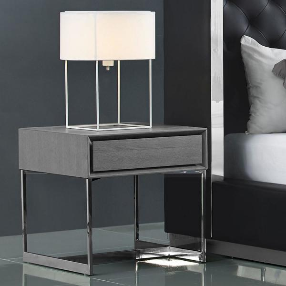 MDF Bedside Cabinet w// 1 Drawer Side Table Telephone Stand Steel Legs Grey K9Y1