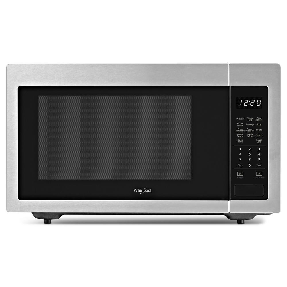 Whirlpool 1 6 Cu Ft Countertop Microwave In Fingerprint Resistant Stainless Steel With 1 200 Watt Cooking Power Wmc30516hz The Home Depot